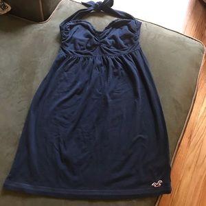 Hollister Navy Blue Cotton Halter Sundress
